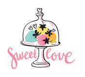 Vector colorful strawberry desert card with stylish lettering - sweet love. Royalty Free Stock Photo