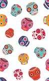 Vector colorful sugar skulls seamless pattern background. royalty free illustration