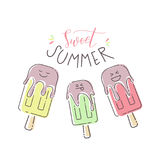 Vector colorful summer illustration with ice cream ant text Royalty Free Stock Photos