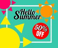 Vector of colorful sun in colorful background. There are word `Summer offer 50% off`, use for web banner, poster or flyer. Picture with copy space for Royalty Free Stock Images