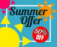 Vector of colorful sun in colorful background. There are word `Summer offer 50% off`, use for web banner, poster or flyer. Picture with copy space for Royalty Free Stock Photography