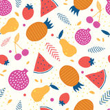 Vector colorful tasty fruit seamless pattern Royalty Free Stock Image