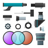 Vector colorful telescope accessories collection Royalty Free Stock Photography