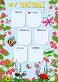 Design template for weekly schedule with cute insects. Vector illustration vector illustration