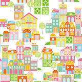 Vector Colorful Town Seamless Pattern Royalty Free Stock Photography