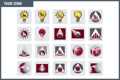 Vector Colorful Trade Icon Set. Stylish and modern visuals used in trade Royalty Free Stock Photography