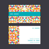 Vector colorful triangle texture horizontal stripe. Frame pattern business cards set graphic design Stock Images