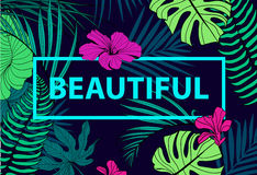 Vector colorful tropical quote in square frame. romantic poster, banner, cover. Tropical print slogan. For t-shirt or vector illustration