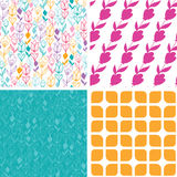 Vector colorful tulip flowers set of four marching Stock Photography