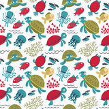 Vector colorful turtles underwater with fish seamless pattern. Marine life cartoon background. Backdrop with sea animals and plants Royalty Free Stock Photo