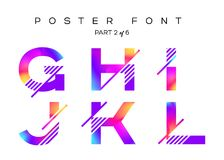Vector Colorful Typeset. Blue, Pink, Purple Neon Colors. Liquid Bright Paint Effect. Urban Techno Type for Logo, Fashion Show, DJ Poster, Sale Banner, Music Royalty Free Stock Photography