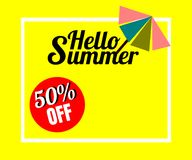 Vector of colorful umbrella in colorful background. There are word `Summer offer 50% off`, use for web banner, poster or flyer. Picture with copy space for Royalty Free Stock Images