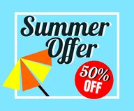 Vector of colorful umbrella in colorful background. There are word `Summer offer 50% off`, use for web banner, poster or flyer. Picture with copy space for Royalty Free Stock Image