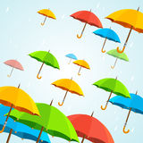 Vector colorful umbrellas fly. Flat Design Stock Photo