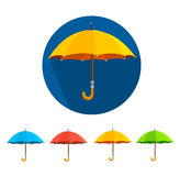 Vector colorful umbrellas set. Flat Design Stock Photo