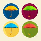 Vector colorful umbrellas set. Flat Design Royalty Free Stock Photos