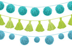 Vector Colorful Vibrant Birthday Party Pom Poms Set On A String Horizontal Seamless Repeat Border Pattern. Great for Stock Photos