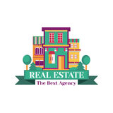 Vector colorful village house, logo  on the white background. Template badge for the corporate style of real Stock Photo