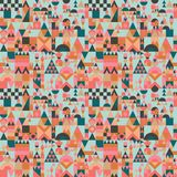 Vector mid century modern minimalistic village in Pantone`s color of the year seamless pattern. Vector colorful village seamless pattern background. Perfect for royalty free illustration