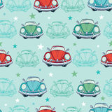 Vector Colorful Vintage Cars Seamless Pattern Stock Photos