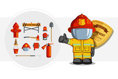 Vector Colorful vintage flat icon set. illustration for infographic. Firefighter Equipment and volunteer emblem Stock Image