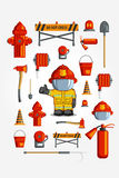 Vector Colorful vintage flat icon set. illustration for infographic.. Firefighter Equipment and volunteer emblem Stock Images