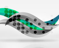 Vector colorful wave lines in white and grey 3d space Royalty Free Stock Image