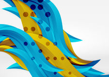 Vector colorful wave lines in white and grey 3d space Royalty Free Stock Photography