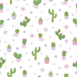 Vector colorful and white cacti party seamless pattern background. stock illustration