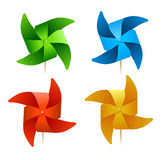 Vector colorful windmills Royalty Free Stock Photos