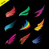 Vector colorful wing icons set on black background. Royalty Free Stock Image