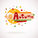Vector colorful word AUTUMN with mug of beer and hand written text (scrapbook and graffity style). Stock Images