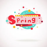 Vector colorful word SPRING with glass of vine and hand written text (scrapbook and graffity style). Stock Photo