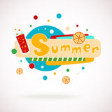 Vector colorful word SUMMER with glass of juice and orange slices and hand written text (scrapbook and graffity style). Stock Photo