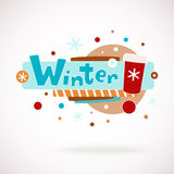 Vector colorful word WINTER with coffee cup, snowflakes and hand written text (scrapbook and graffity style). Stock Photography