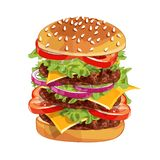 Vector colorfull big burger over any background stock photography