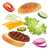 Vector colorfull burger ads over any background royalty free stock photo