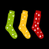 Vector colorfull socks with a pattern drops and bubbles hearts o. N black vector illustration