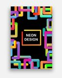 Vector colorido con los colores de neón Diseño abstracto futurista con formas geométricas de moda stock de ilustración