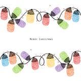 Vector colorido de la tarjeta de felicitación de las huellas dactilares de la bombilla de la Navidad Foto de archivo
