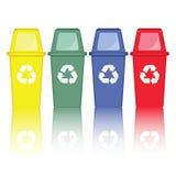 Vector colorido de las papeleras de reciclaje Imagen de archivo