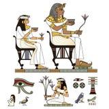 Vector colorido de los Pharaohs y de dioses Iconos de Egipto fijados stock de ilustración