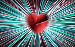 Vector colorido Del corazón rojo tajado, roto en el centro divergen las rayas del color a los bordes Para el día de tarjetas del  ilustración del vector