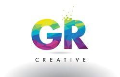 Vector colorido del diseño de los triángulos de la papiroflexia de la letra de GR G R Imágenes de archivo libres de regalías