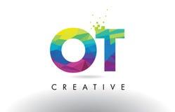 Vector colorido del diseño de los triángulos de la papiroflexia de la letra de OT O T Fotografía de archivo
