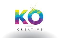 Vector colorido del diseño de los triángulos de la papiroflexia de la letra del knock-out K O stock de ilustración