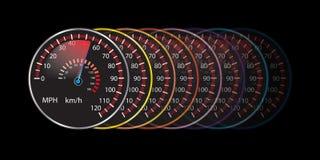 Vector colorido del fondo del extracto del velocímetro del coche Imagen de archivo