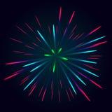 Vector colorido del fuego artificial ilustración del vector