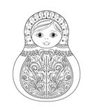 Vector coloring book for adult and kids - russian matrioshka doll. Hand drawn zentangle with floral and ethnic ornaments Royalty Free Stock Images