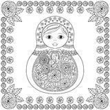 Vector coloring book for adult and kids - russian matrioshka doll. Hand drawn zentangle  Stock Photos